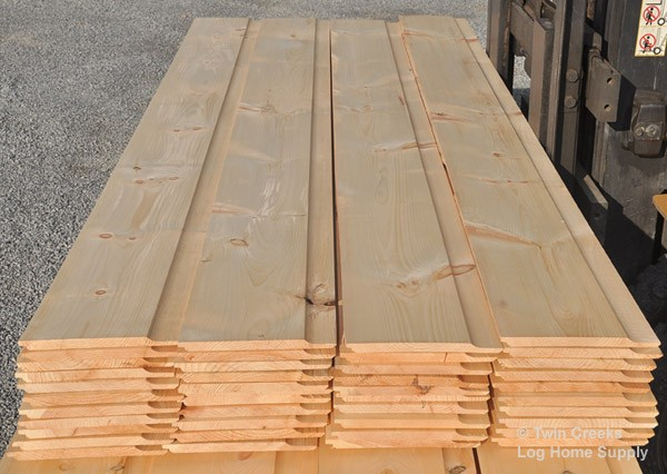 1x12 white pine smooth face chink log siding from bundle