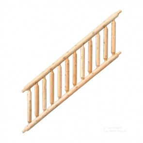 Northern White Cedar Log Stair Railing (Assembled Section)
